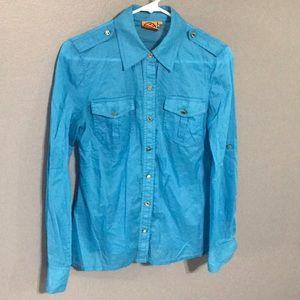 Tory Burch Blue Button Down Shirt sz 6